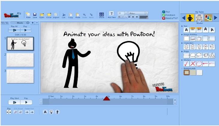 Uma das ferramentas que auxiliam na gestão de redes sociais é a Powtoon, que possibilita a criação de apresentações animadas.